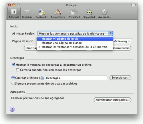 como cambiar la pagina principal de firefox en mac