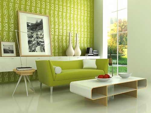 habitación en verde