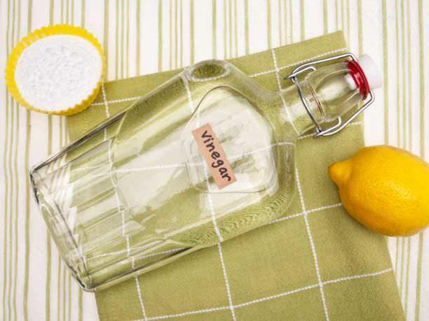botella de vinagre con limón