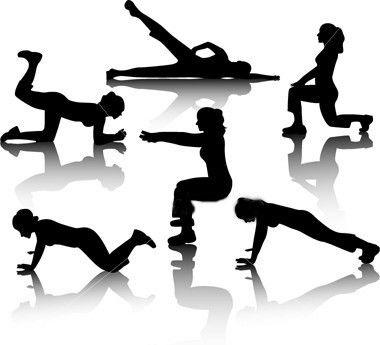 mujer haciendo ejercicios, ilustrado