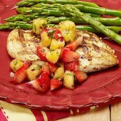 Pollo a la plancha con salsa de pina y fresa5